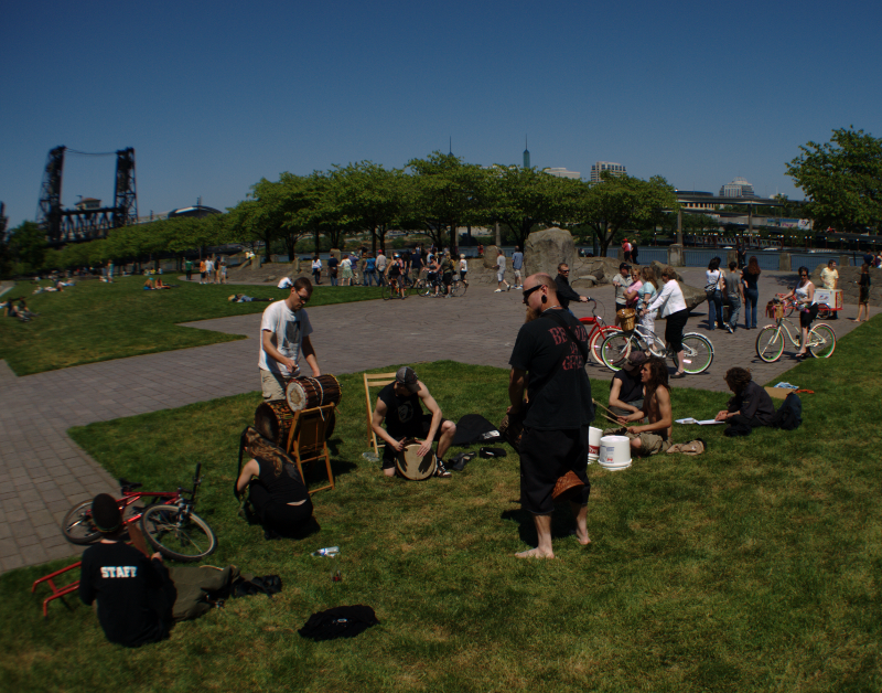 drum circle in North Waterfront Park